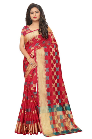 Red Color Embellished  Cotton Jacquard Saree - BF5250Red
