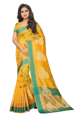 Yellow Color Embellished  Cotton Jacquard Saree - BF5251_Yellow