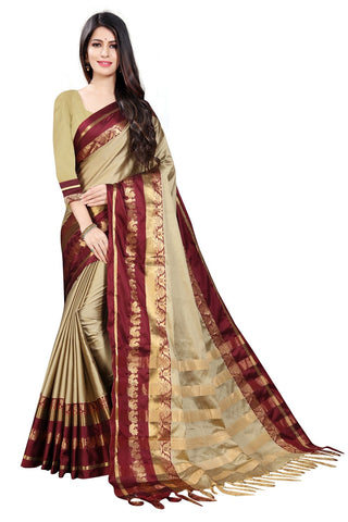 Beige Color Embellished Cotton Silk Saree - BF5252Beige_Red