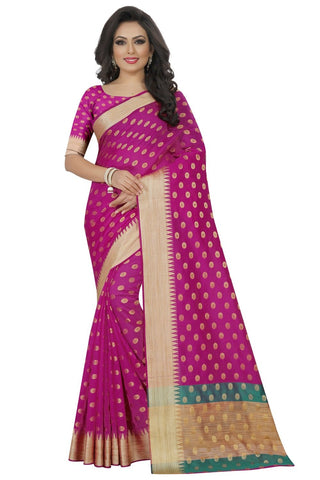 Pink Color Woven Cotton Silk Saree - BF5253Pink