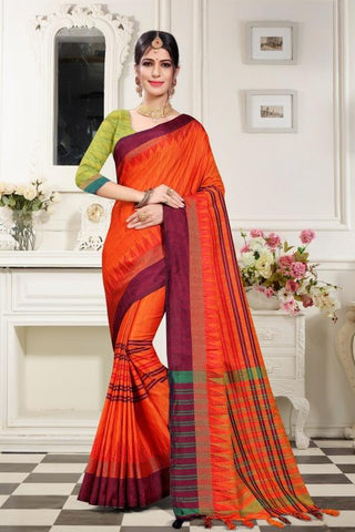 Orange Color Woven Cotton Silk Saree - BF5254