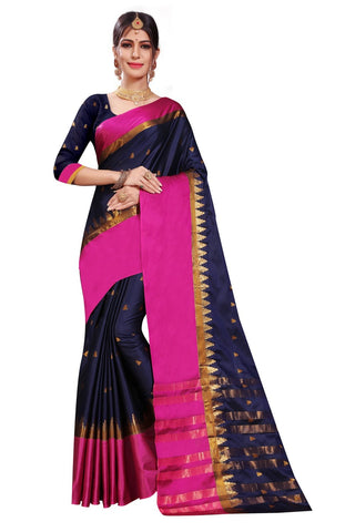 Navy Color Woven Cotton Silk Saree - BF5256Navy