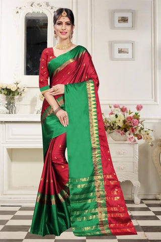 Red Color Woven Cotton Silk Saree - BF5256Red