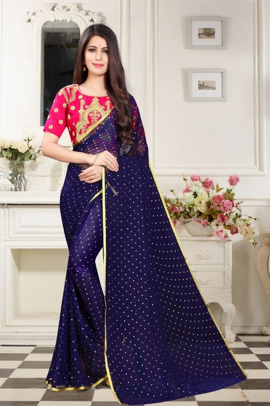 Buy Navy Color Embellished Chiffon Saree