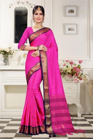 Pink Color Woven Cotton Silk Saree - BF5259