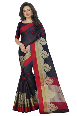 Navy Color Woven Jacquard Saree - BFA5249NavyAA