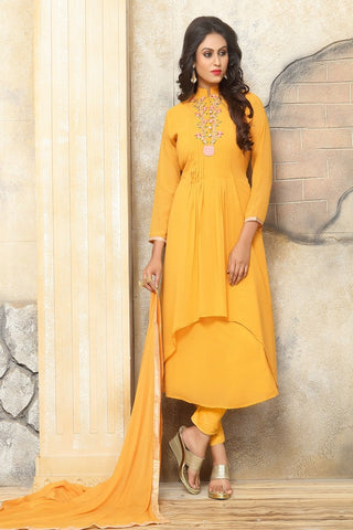 Yellow Color Georgette Women's Semi Stitched Salwar Suit - BF_1138_YELLOW