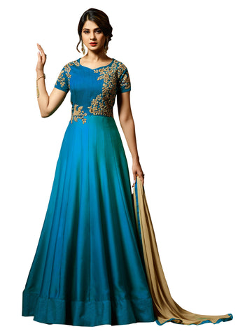 Firoji Color Silk Embroidered Women's Semi Stitched Salwar Suit - BF_1153_Firoji