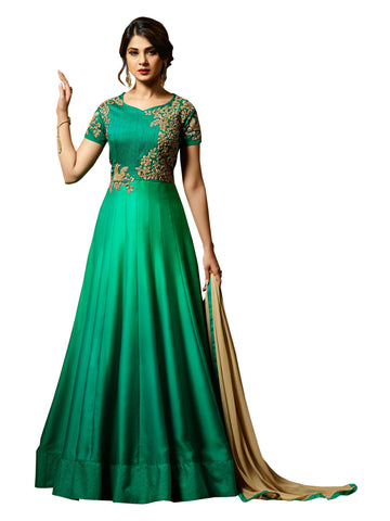 Green Color Silk Embroidered Women's Semi Stitched Salwar Suit - BF_1153_Green