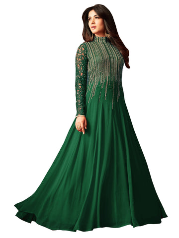 Green Color Faux Georgette Women's Semi Stitched Salwar Suit - BF_1166_Green