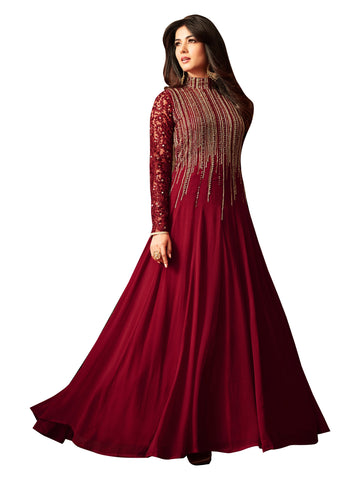 Red Color Faux Georgette Women's Semi Stitched Salwar Suit - BF_1166_Red