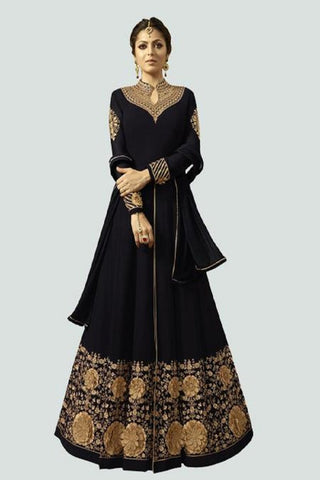 Black Color Faux Georgette Santoon Women's Semi Stitched Salwar Suit - BF_1296_BLACK