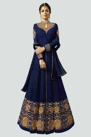 Blue Color Faux Georgette Santoon Women's Semi Stitched Salwar Suit - BF_1296_BLUE