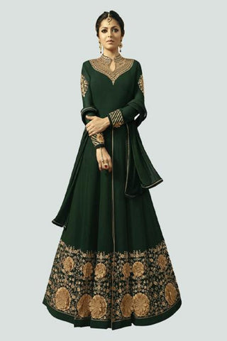 Green Color Faux Georgette Santoon Women's Semi Stitched Salwar Suit - BF_1296_GREEN