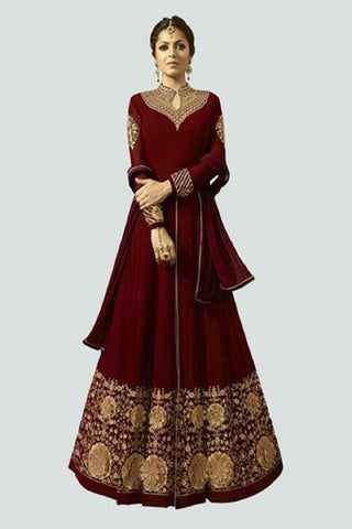 Red Color Faux Georgette Santoon Women's Semi Stitched Salwar Suit - BF_1296_RED