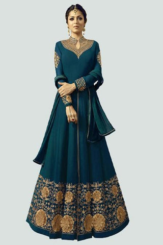 Turquoise Color Faux Georgette Santoon Women's Semi Stitched Salwar Suit - BF_1296_TURQUOISE