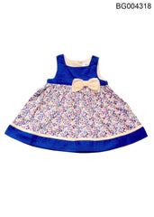 YOUNG BIRDS-BEAUTIFUL ROYAL BLUE COLOUR PALMS PRINT DRESS FOR BABY GIRLS - BG004318