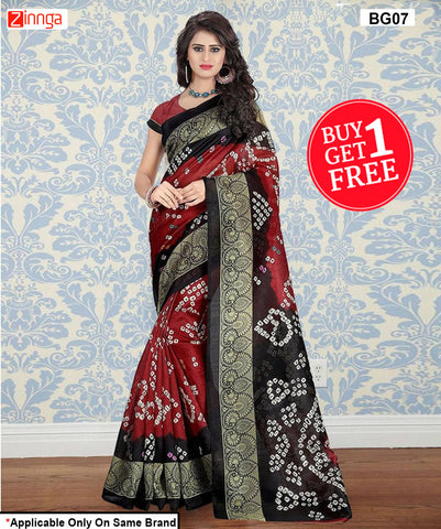 B1G1-Women's Beautiful Bhagalpuri Cotton Silk Saree - BG07