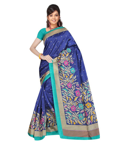 Blue Color Kalamkari Mysure Silk Saree - BGPSR106