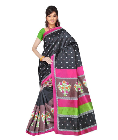 Black Color Kalamkari Mysure Silk Saree - BGPSR111