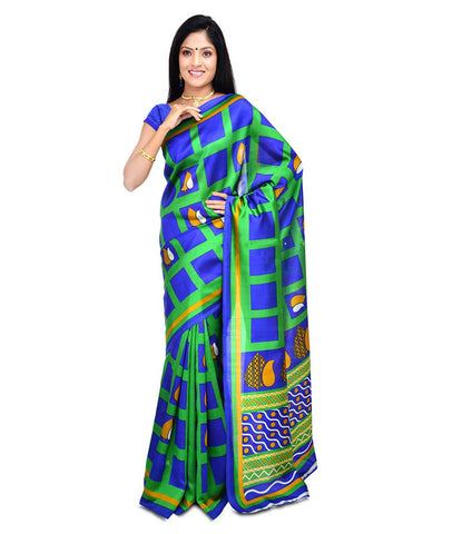 Blue Color Kalamkari Mysure Silk Saree - BGPSR14