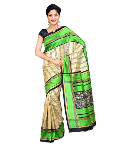Cream Color Kalamkari Mysure Silk Saree - BGPSR16