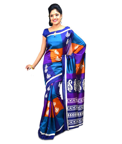 Blue Color Kalamkari Mysure Silk Saree - BGPSR19