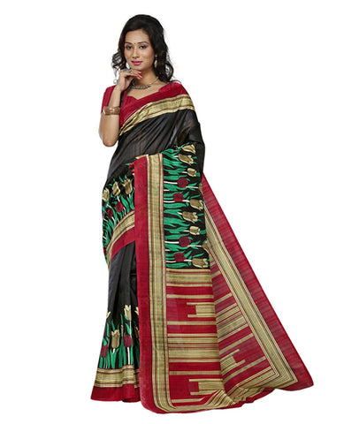 Black Color Kalamkari Mysure Silk Saree - BGPSR66