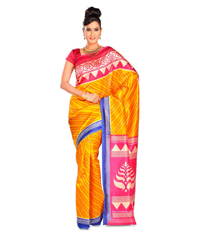 Yellow Color Kalamkari Mysure Silk Saree - BGPSR71
