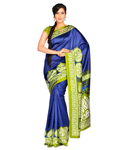 Blue Color Kalamkari Mysure Silk Saree - BGPSR73