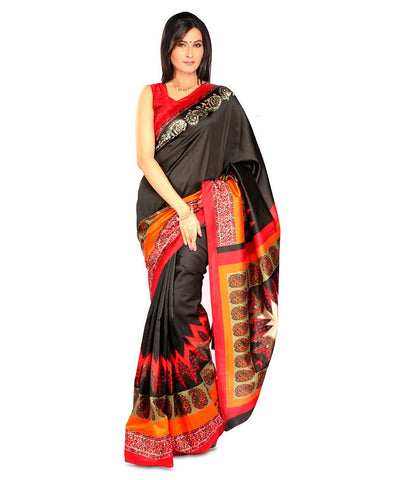 Black Color Kalamkari Mysure Silk Saree - BGPSR75