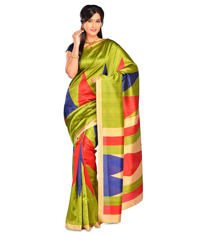Green Color Kalamkari Mysure Silk Saree - BGPSR76