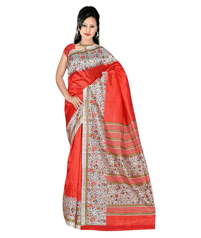 Red Color Kalamkari Mysure Silk Saree - BGPSR77