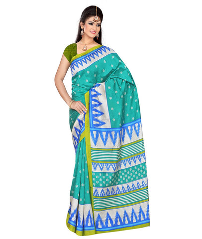 Turquoise Color Kalamkari Mysure Silk Saree - BGPSR78