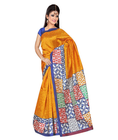 Yellow Color Kalamkari Mysure Silk Saree - BGPSR80