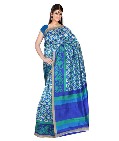 Blue Color Kalamkari Mysure Silk Saree - BGPSR82