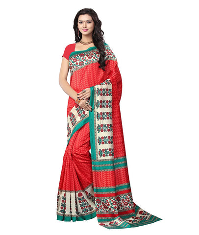 Red Color Kalamkari Mysure Silk Saree - BGPSR87