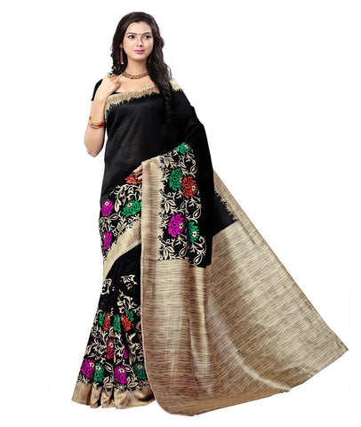 Black Color Kalamkari Mysure Silk Saree - BGPSR88