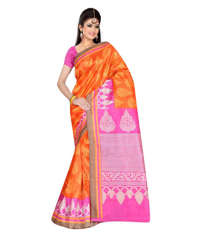 Orange Color Kalamkari Mysure Silk Saree - BGPSR90