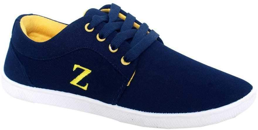Buy Blue And Yellow Color Synthetic Mens Shoes