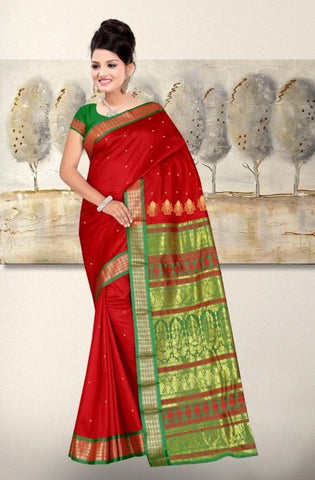 Red and Green Color ArtSilk Saree - BHAVANASAREES