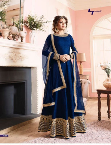 Blue Color Banglori Silk Un Stitched Salwar - BIPO-02
