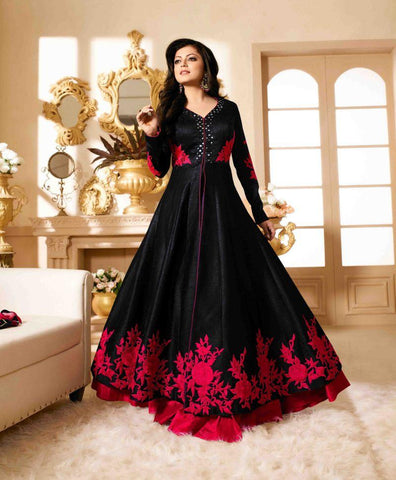 Black Color Banglori Silk Un Stitched Salwar - BIPO-07