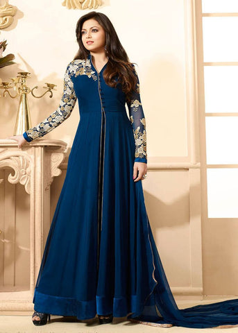 Navy Blue Color 60grm Georgette Un Stitched Salwar - BIPO-19