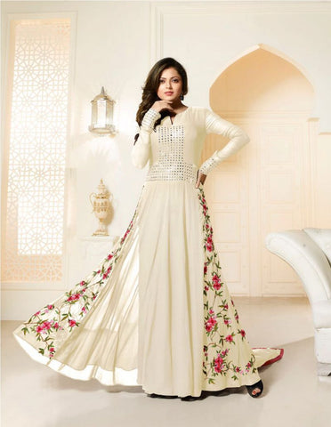 White Color Georgette Un Stitched Salwar - BIPO-31