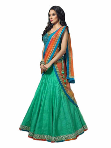 Green Color Banglori Satin Stitched Lehenga - BK-Firozi-Lehenga.jpeg