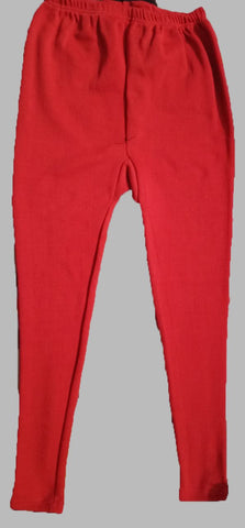 Red Color Cotton Lycra Women's Casual Legging - BKR001