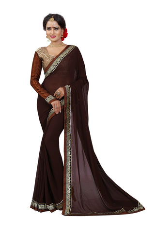 Brown Color Chiffon Designer Saree - BL1274