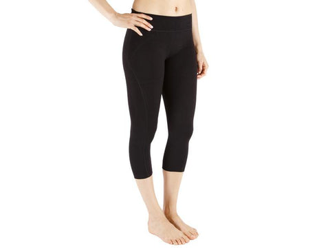 Black Color Supplex Lycra Capri - BLACK4-CP