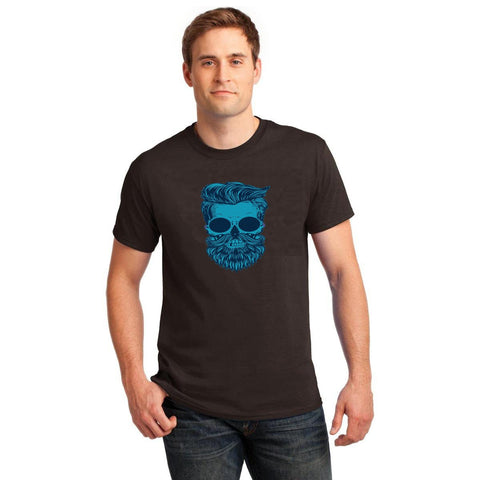Black Color Cotton Men's T-Shirt  - BLK-160-CT-Beard